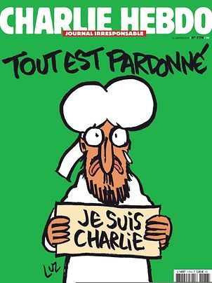 """The frontpage of the upcoming """"survivors"""" edition of the French satirical weekly Charlie Hebdo with a cartoon of the Prophet Mohammed holding up a """"Je suis Charlie"""" ('I am Charlie') sign under the words: """"Tout est pardonne"""" ('All is forgiven')"""