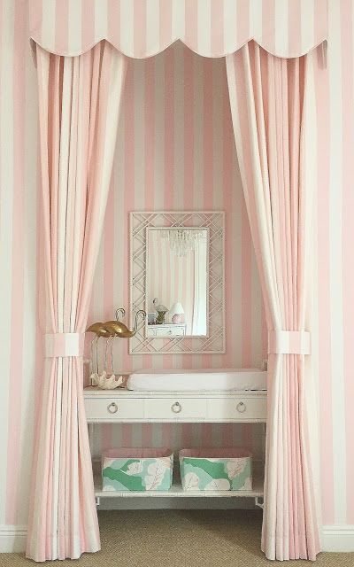 Pink and Green Nursery Inspired by the Beverly Hills hotel and Vintage Miami Beach pink striped wallpaper walls changing table