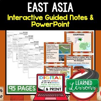 East Asia Guided Notes and PowerPoints, World Geography ➤World Geography Guided Notes, Interactive Notebook, Note Taking, PowerPoints, Anticipatory Guides These interactive guided notes and PowerPoints are great for