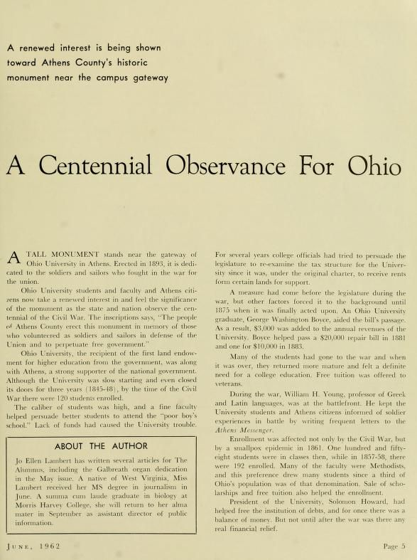 "The Ohio Alumnus, June 1962. ""A Centennial Observance for Ohio."" The history of Ohio University during the Civil War and the construction of College Green's Civil War monument. :: Ohio University Archives"
