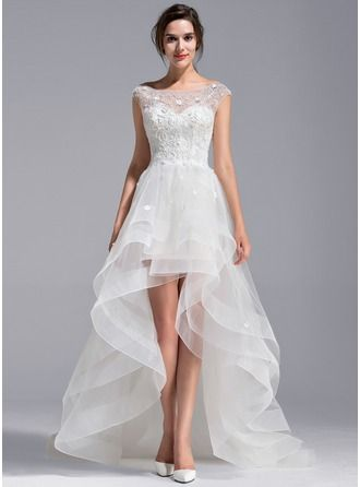 A-Line/Princess Scoop Neck Asymmetrical Tulle Lace Wedding Dress With Beading Flower(s)