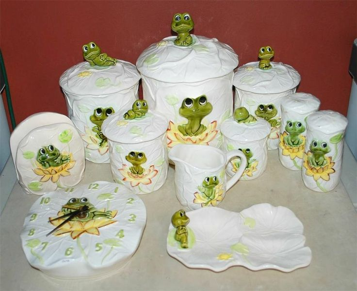 16 pc vintage sears roebuck neil the frog canister set sugar salt spoon clock & 16 best Sears Neil the Frog images on Pinterest | Frogs Dishes and ...