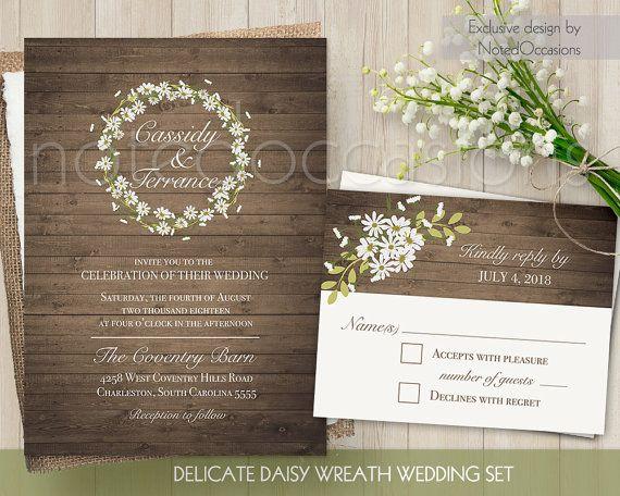 Rustic Wedding Invitation Sets: Rustic Daisy Wedding Invitation Set Printable RSVP And