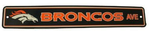 """Denver Broncos Plastic Street Sign """"Broncos Ave"""" by Fremont Die. $10.87. This plastic sign is a great decoration for the rec room or basement bar! Features vibrant team colors and helmet logo, on a sturdy, die-cut plastic sign that will stand up to all kinds of wear and tear. Plastic construction means it can go indoors or out. Measures 4"""" x 24"""""""