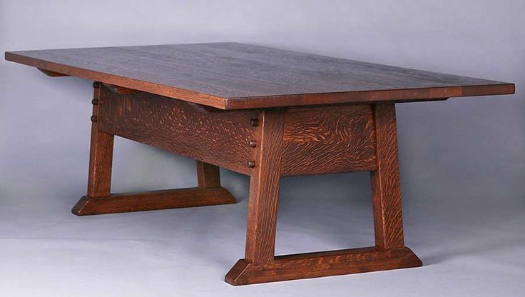Gustav Stickley rectangular dining table also known as Director's table.  Unsigned.  Very nicely refinished.