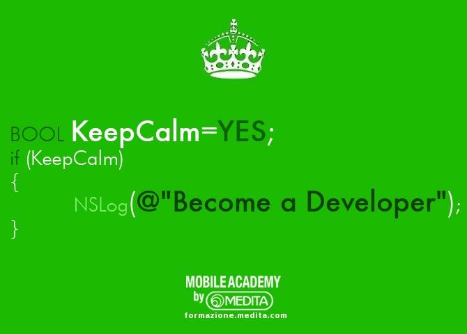 #keepcalm e diventa uno sviluppatore iOs! Iscriviti alla sesta edizione del corso di programmazione per  #iphone e #ipad della Mobile Academy (Roma, 11-15 giugno 2012).  info e prenotazioni: http://mobileacademy.eventbrite.com/