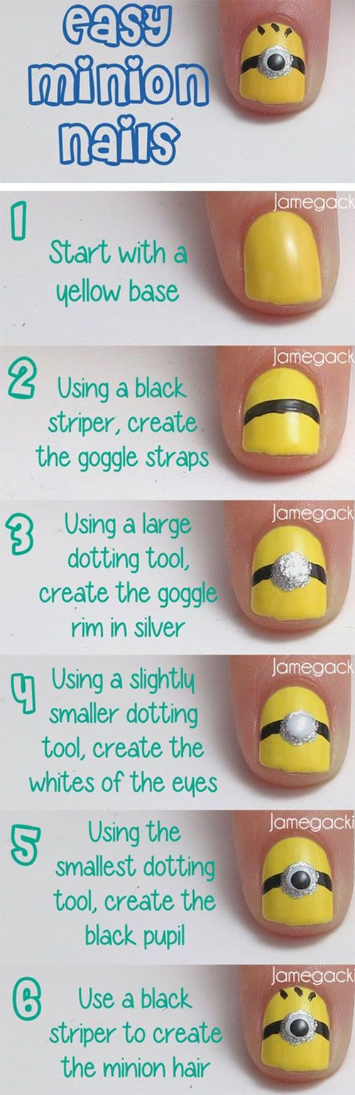 10 Easy Step by Step Minion Nail Art Tutorials For Beginners & Learners 2015