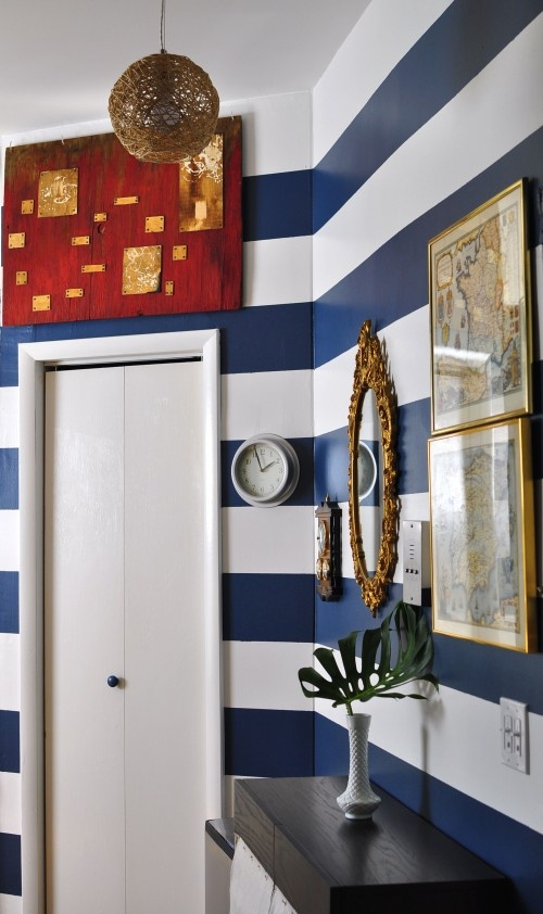 Perfect stripes for a Penn State room! May need a PSU Alumni room for my future house :): Boys Bathroom, Nautical Stripes, Stripes Wall, Boys Rooms, Bathroom Wall, Blue Stripes, Bedrooms Ideas, Powder Rooms, Accent Wall
