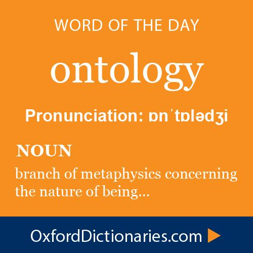 ontology (noun): branch of metaphysics concerning the nature of being. Word of the Day for 5 January 2015 #WOTD #WordoftheDay #ontology
