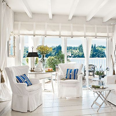 All white with a pop of blue. Perfect.