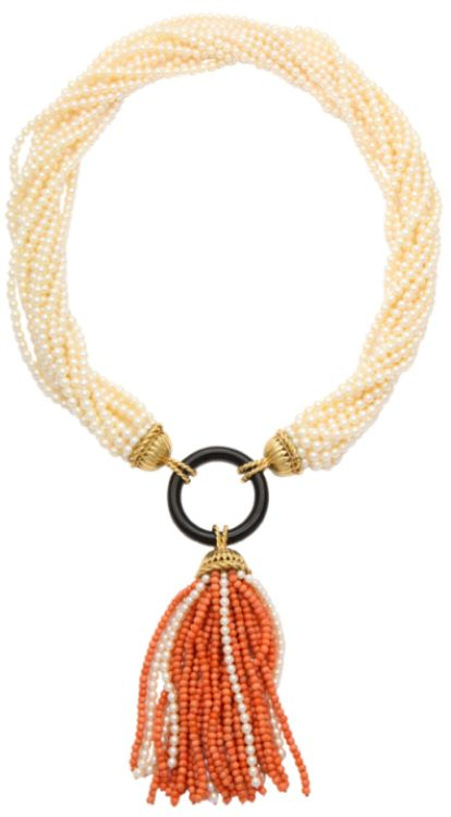 Van Cleef & Arpels tassel necklace.  A stylish long tassel containing south sea cultured pearls, onyx and coral. Set on 18k gold, by Van Cleef & Arpels. Signed and numbered. Circa 1970's. Via 1stdibs.