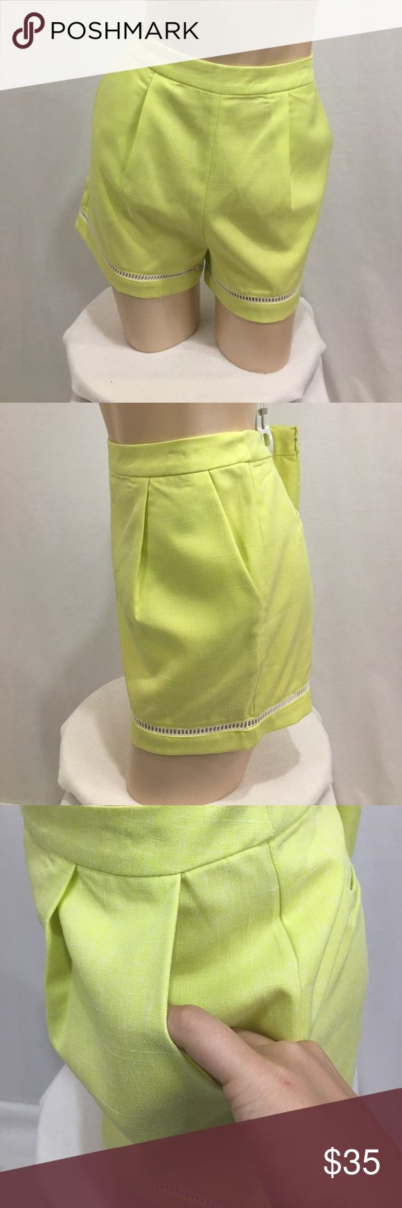 NWOT lemon lime yellow shorts Cutout crochet detailing along edge. Faux back pocket. And back zipper. Front pockets. Size medium. New without tags. Never worn. Yellow/green color. Measurements are approx in inches laying flat. W-15 length-13.5 rise-11.5 inseam-3  🌹no trades 🌹discounts on bundles of 2+  🌹1000 items listed, take a peak!  🌹suggested user, posh compliant:) Love Riche Shorts