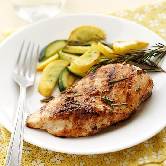 Grilled Rosemary Chicken---Nutrition Facts: Servings Per Recipe 6, cal. (kcal) 162, Fat, total (g) 3, chol. (mg) 77, sat. fat (g) 1, carb. (g) 2, Monosaturated fat (g) 1, sugar (g) 1, pro. (g) 31, sodium (mg) 135