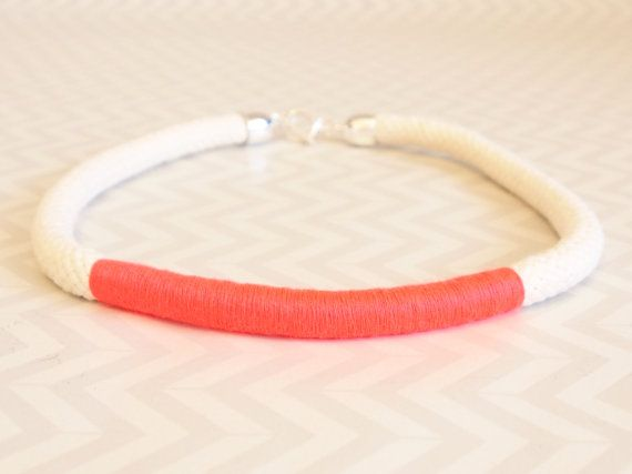 Cream and neon orange wrap rope choker necklace on Etsy, $35.00 AUD