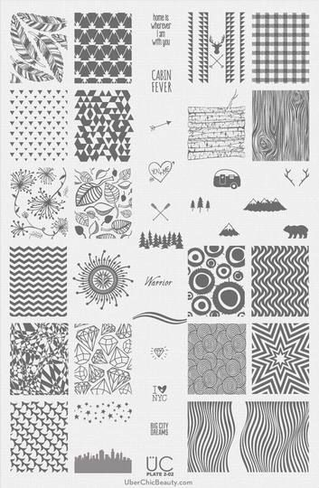 UberChic Nail Stamp Plates - Collection 2 - Includes 3 Unique Nail Stamp Plates