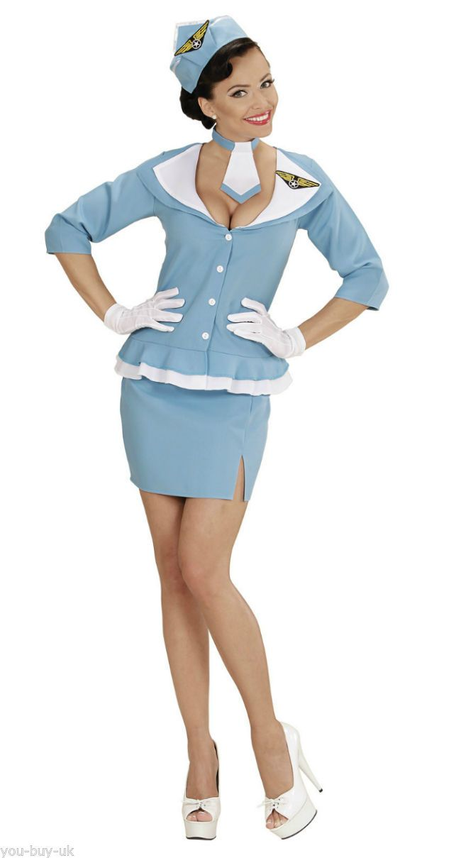 Ladies #flight #attendant costume retro air hostess 60s 70s #cabin crew fancy dre,  View more on the LINK: http://www.zeppy.io/product/gb/2/111691781411/