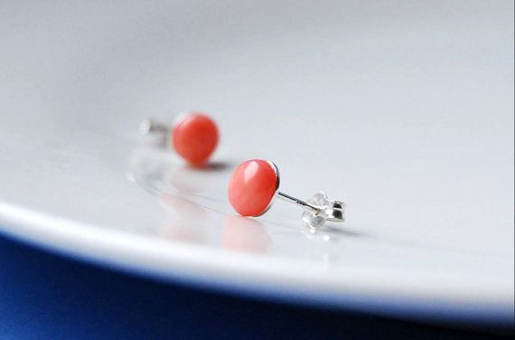 Stud earrings, delicate and minimalist earrings, created using sterling silver components adorned with pink polished coral (6mm = 0.24).  Essential