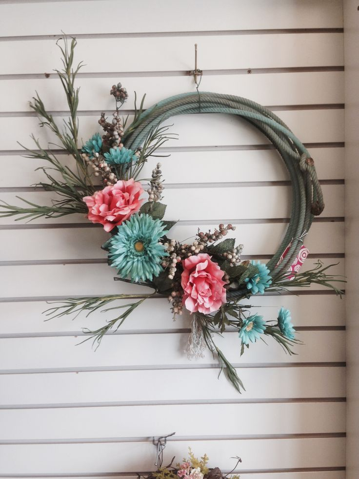 Mint Sunflower, Pink Peony Lariat Rope wreath. Western Woodward's Floral