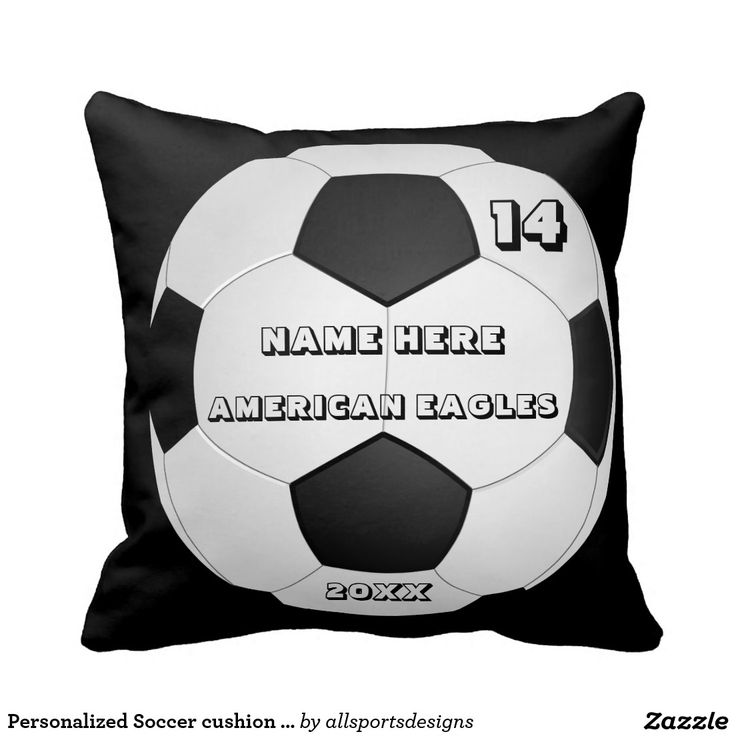 Personalized Soccer cushion with Player's Name Pillows  Personalized Soccer cushion with Name of player`s,Name of team,Number of jersey and the Year on it. Background color can be change to team color this soccer pillow is great for a gift.Delete any or all text. IMPORTANT Personalize each soccer cushion, ONE at a Time, ADD that keychain to CART.