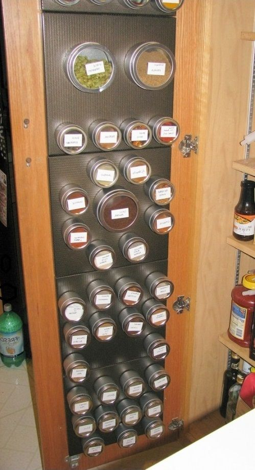 DIY ideas for storing spices....but how about for storing all those little things we use in a craft room...such a great idea.