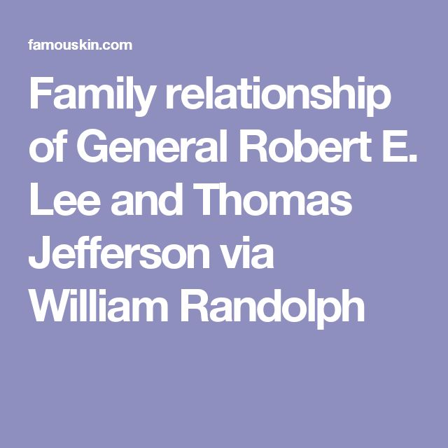 Family relationship of General Robert E. Lee and Thomas Jefferson via William Randolph