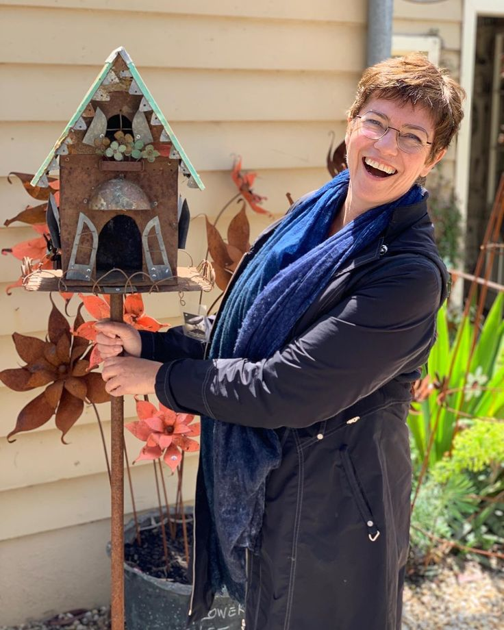 Cendrine Had A Great Time At Shades Of Gray A Bird House Is Going Home Back To Melbourne With Her Castlemaine Bird House Garden Art Vertical Garden
