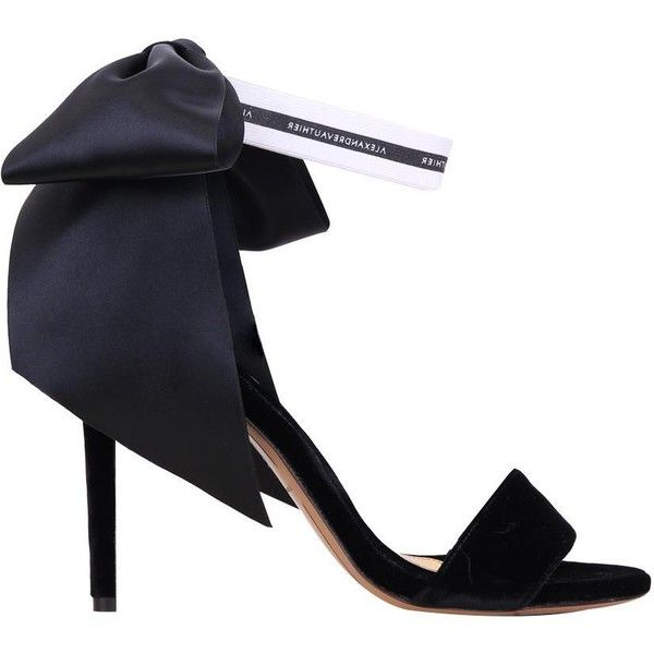 Alexandre Vauthier Satin trimmed suede sandals ($1,137) ❤ liked on Polyvore featuring shoes, sandals, black, black suede shoes, ankle tie sandals, ankle wrap shoes, ankle strap sandals and ribbon sandals