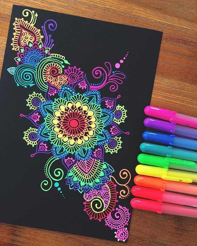 Hey guys! Another gelly roll pen doodle!❤️ hope your all having an awesome day! ☺️ #mandala#pen#zentangle#gellyroll#ink#colourful More
