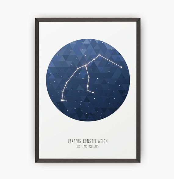 Perseus constellation - Poster - Triangles - Minimalist - Wall print - Printed art - Constellation print - Home decor - Wall art