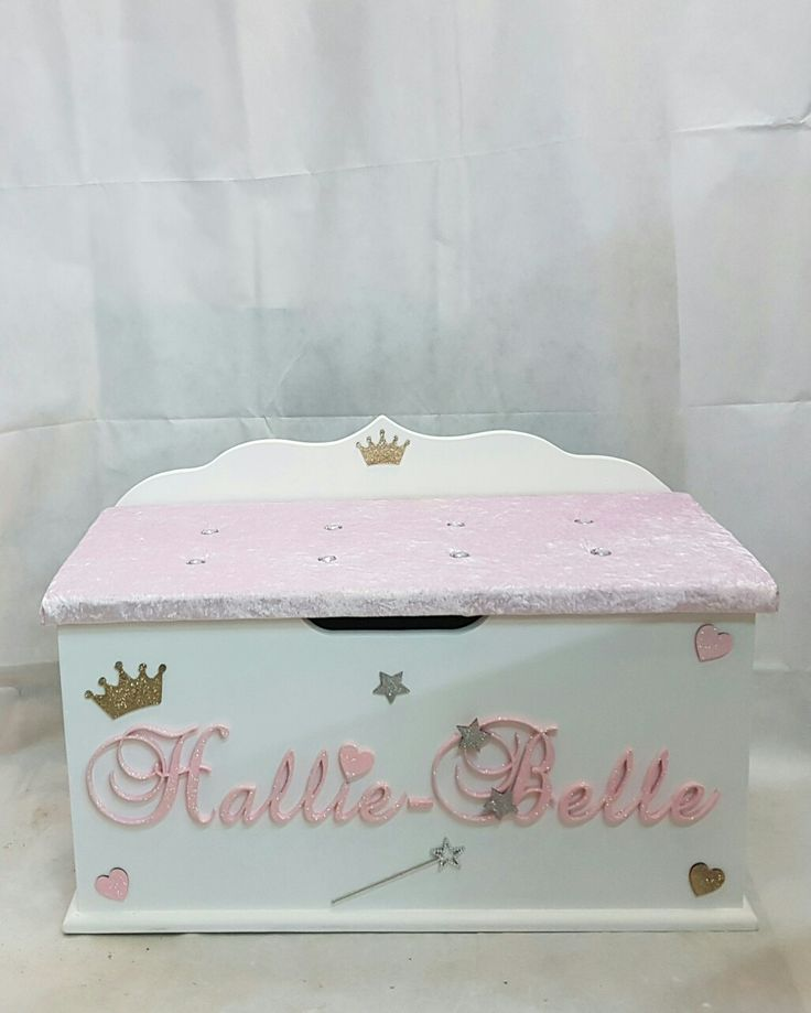 personalised toy box children baby kids first birthday Christmas bespoke handmade Dreambox toy boxes names bedroom nursery furniture storage parents pregnancy newborn new parents home style bling princess fairy wand pink glitter stars hearts crown