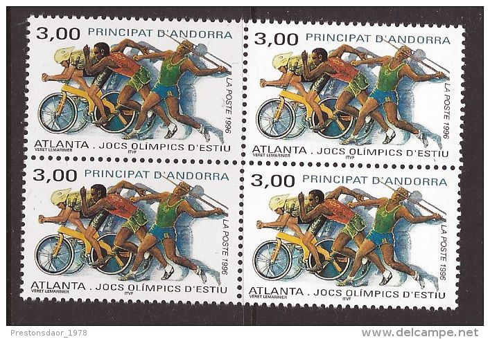 MINT STAMPS - OLYMPIC GAMES ATLANTA ( Block of 4 stamps ) - 1996 - ANDORRA ( FRENCH ) - ** / MNH --- - Delcampe.net