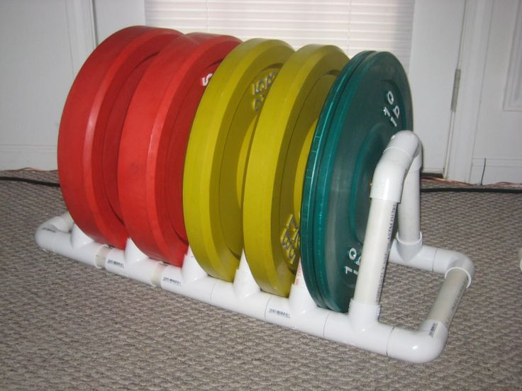 PVC plate storage rack http://board.crossfit.com/showthread.php?t=34355&page=2