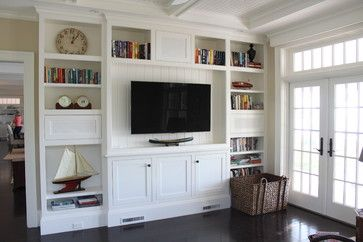 Traditional Media Room Design Ideas, Pictures, Remodel and Decor - like the small nautical accessories