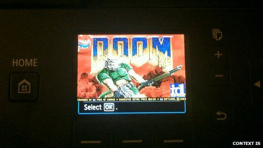 Canon printer hacked to run Doom video game BBC 15th Sept
