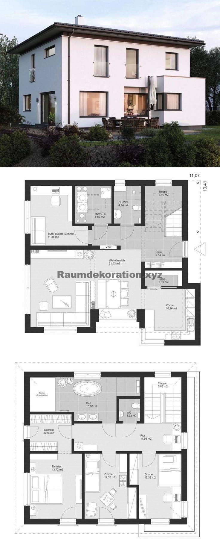 Idées architecturales – Plan de la villa de ville moderne Style architectural avec toit en croupe et extension de baie vitrée