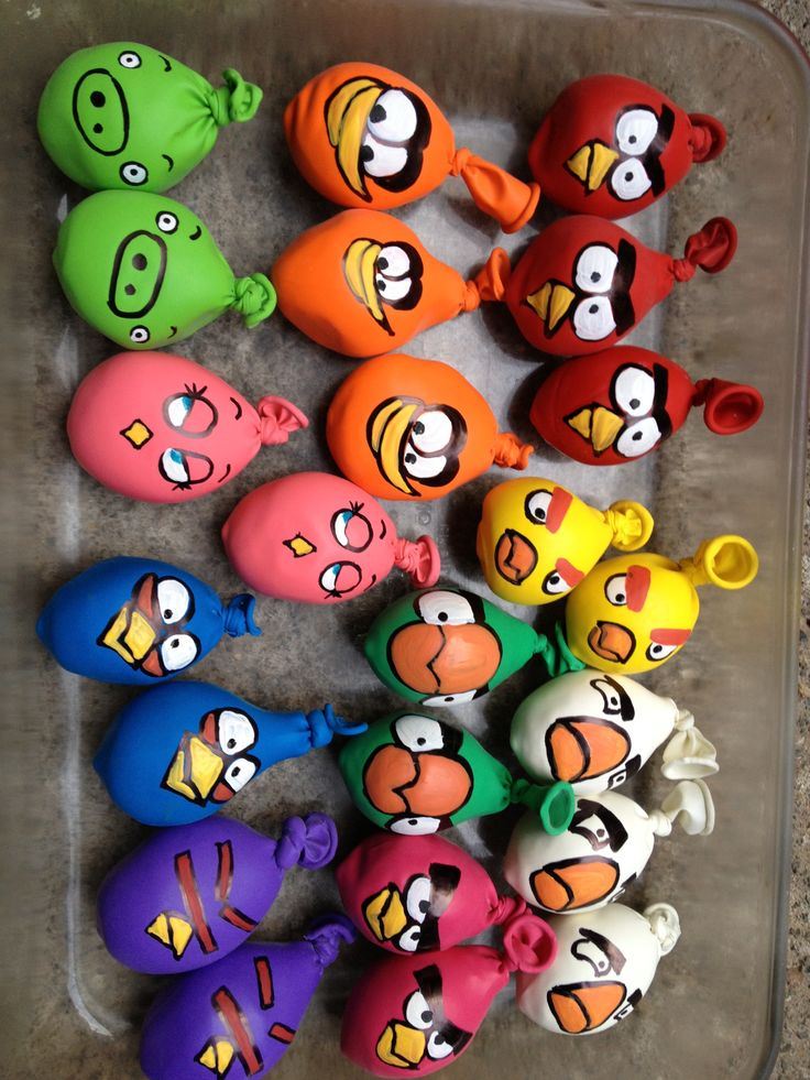 DIY balloon angry birds - should fill with shaving cream and have a fight at the end of the party.