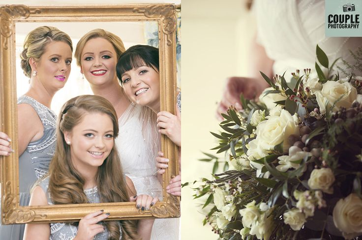 Cute bridesmaid photo peeping through a vintage gold frame. The bride's bouquet inspired by flowers of the 1920's. Weddings at Rathsallagh House Hotel by Couple Photography.