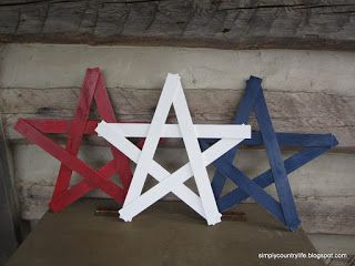 Simply Country Life: Handmade Patriotic Red White and Blue Decor Paint stir stick stars