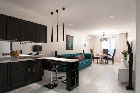 кухня студия 18 кв м дизайн фото 6
