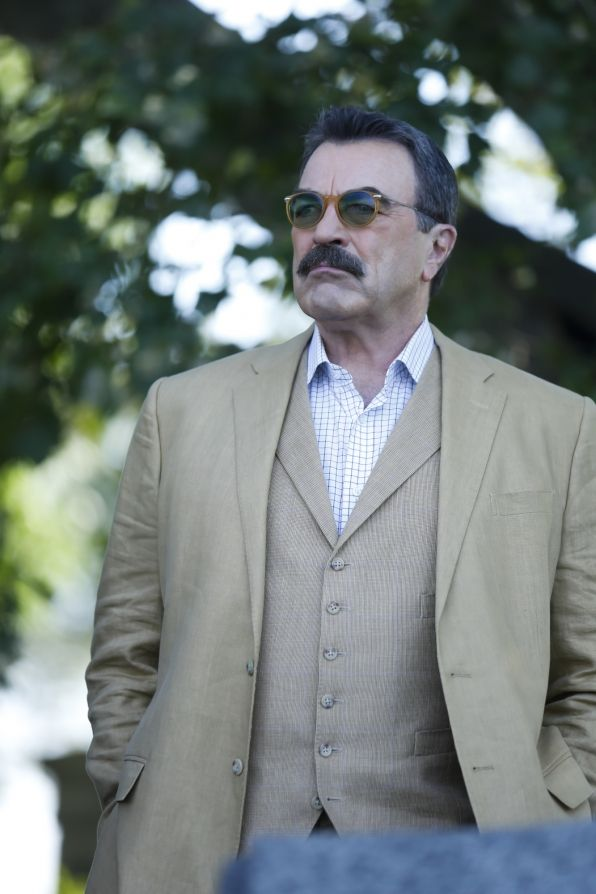 Blue Blood's 'Frank Reagan' looks on. Tom Selleck still looks good.