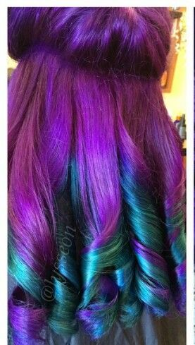 Purple and turquoise blue ombre dyed hair