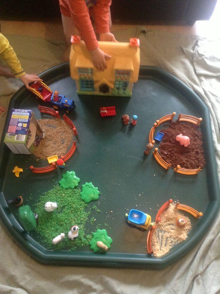Edible farm. #smallworld small world play. Tuff spot