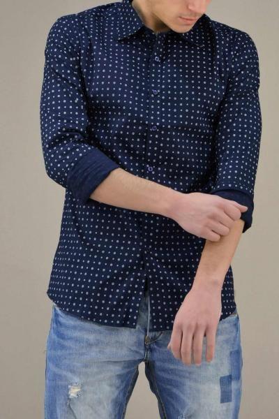 Ανδρικό πουκάμισο με τύπωμα  POUK-1671-bl Πουκάμισα - Άνδρας | Metal Deluxe