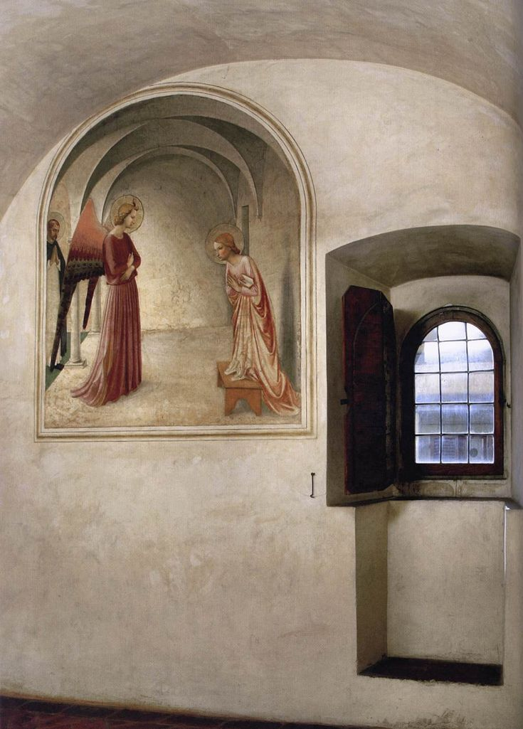 'Fra Angelico: who contemplated on this fresco for many years in this cell in San Marco, Florence.  http://www.friendsofart.net/en/art/fra-angelico/view-of-a-cell  'In The Annunciation, the interior reproduces that of the cell in which it is located.' http://en.wikipedia.org/wiki/Fra_Angelico