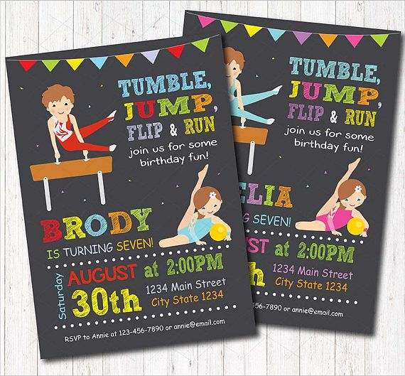 Gymnastic Birthday Invitation Gymnastic invite Tumbler