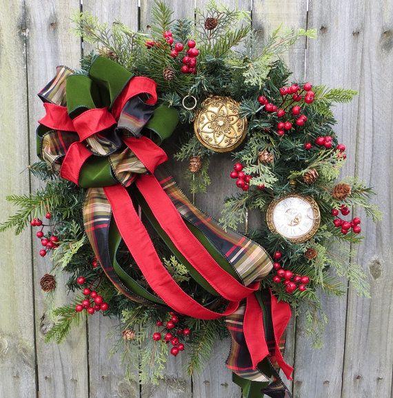 Holiday Wreath Christmas Wreath Clock Wreath with by HornsHandmade, $95.00