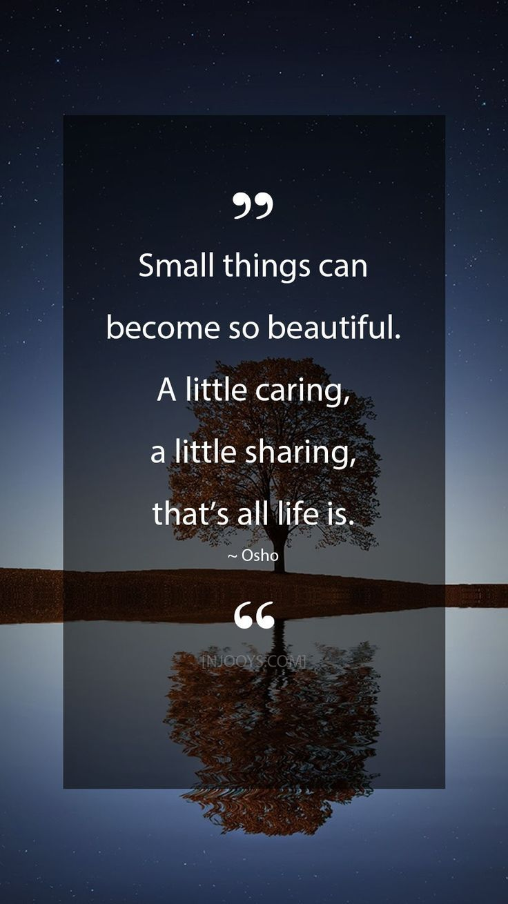 Osho Quotes. Small things can become so beautiful. A little caring