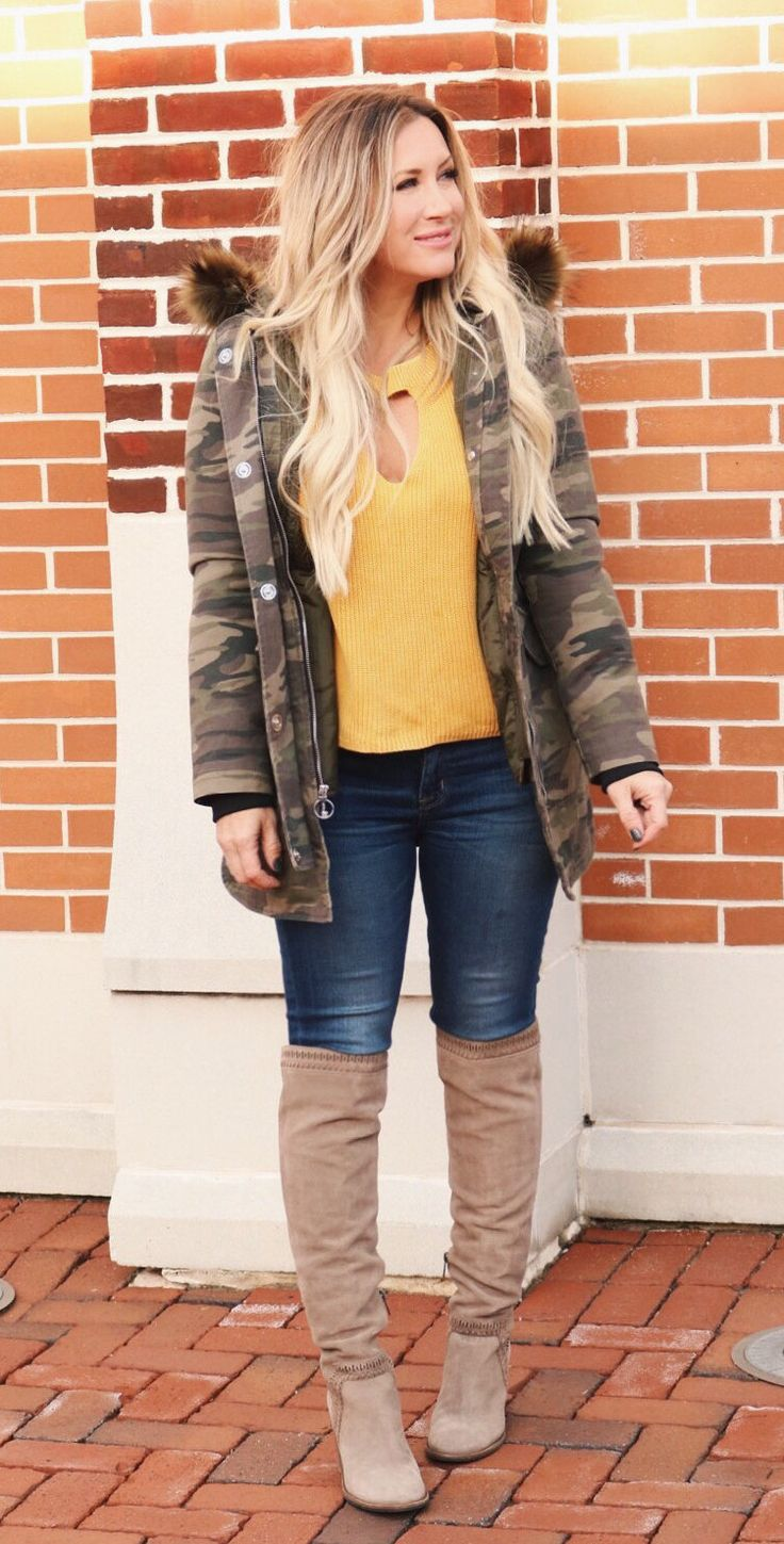 #winter #outfits women's brown and green camouflage button-up jacket with yellow shirt and blue denim jeans. Click To Shop This Look.