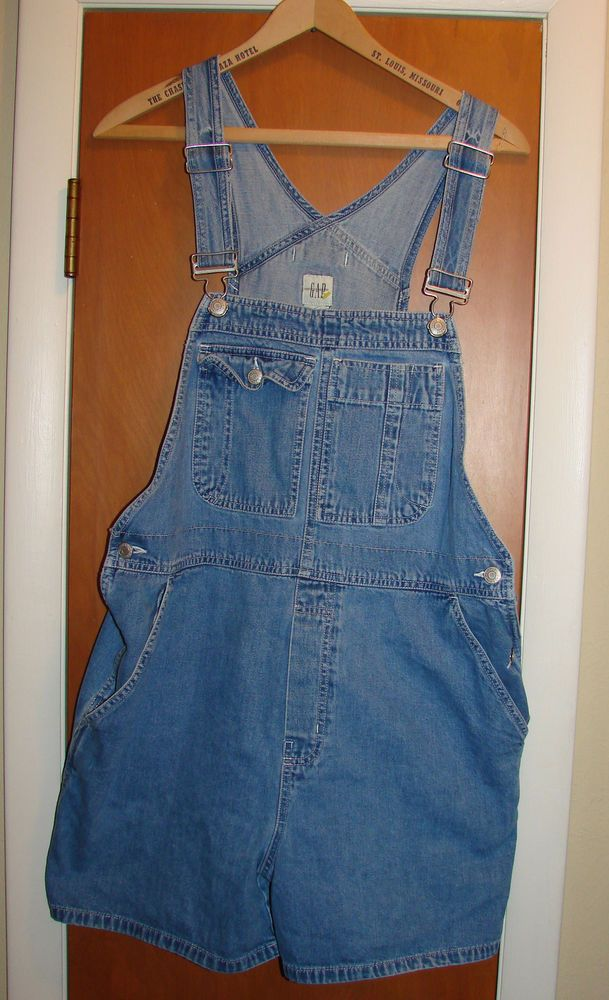 Women's Gap Brand Overall Shorts Shortalls Size Large #GAP #Shortalls