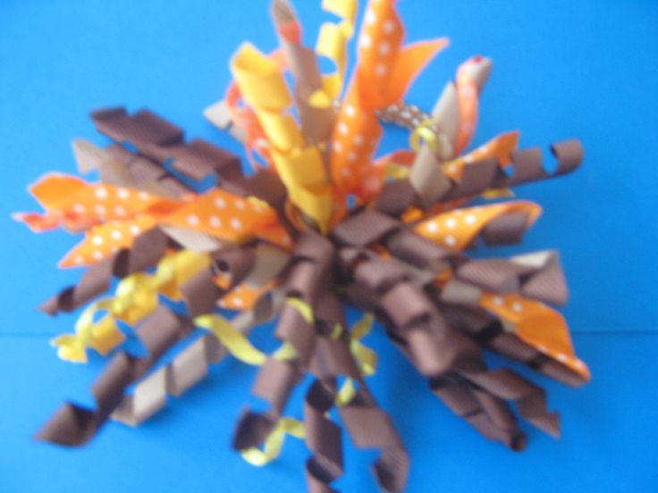 korker bow - orange & coffee. For pony tail Moño crespo - naranja y cafes. Cola de caballo $8000 COP -